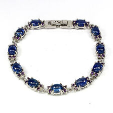 Sterling Silver 925 Natural Rich Blue Kyanite & Amethyst Bracelet 7 Inches
