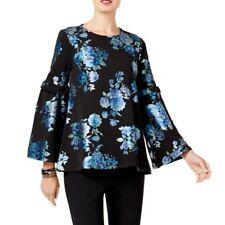 7b4141ac552 ALFANI NEW Women's Navy Floral Print Bell Sleeves Blouse Shirt Top TEDO