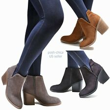 New Women STp Black Tan Gray Western Ankle Booties Low Heel Riding Boots