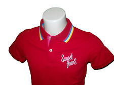 POLO SWEET YEARS UOMO T-SHIRT COTONE PIQUET ROSSO CON RIGHINO TG M