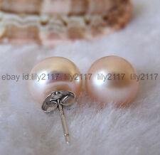 Genuine Natural 11-12mm Pink Akoya Freshwater Pearl Silver Earring