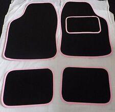 BLACK WITH PINK TRIM UNIVERSAL CAR FLOOR MATS GIRL RACER MATS