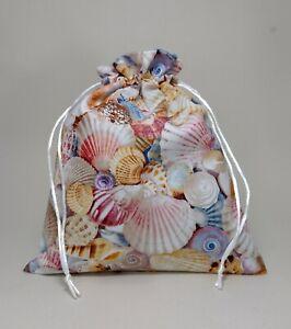 Cotton Drawstring Wash Bag Waterproof Lined Cosmetics Toiletries, Sea Shells