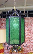 Mid Century Green Glass Wrought Iron Swag Pendant Light Spanish Revival Boho