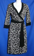 Diane Von Furstenberg Size 6 Black Beige Floral Wrap Dress
