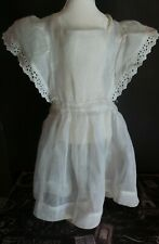 Antique! Organdy Pinafore with Eyelet Trims For Composition China Bisque Dolls
