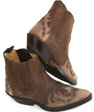 SANCHO 4873 'Mistral' Western Ankle Leather Boots, Brown & Taupe, $299 EU 38