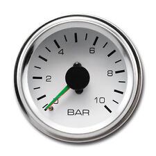 52 mm Auto Dual Air Pressure Gauge Mechanical White Face Chrome Rim 0-10 BAR