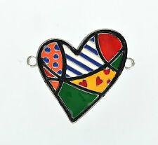 Large Silver and Enamel Patchwork Quilt HEART Connector che0197