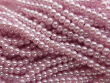 1 Strand (140 Beads) Light Pink Glass Pearl Beads 6mm, Faux Imitation Pearls
