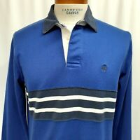 Brooks Brothers Men's Rugby polo shirt Large Medium Logo Cotton Striped Blue