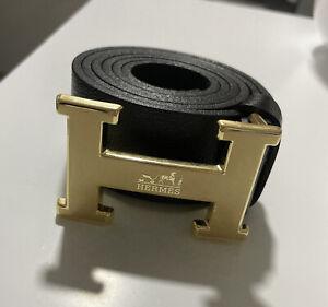 Hermes H Gold Buckle Black Leather Belt - Men's