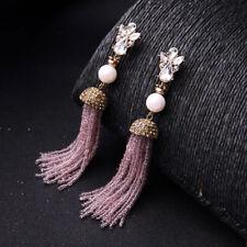 Designer Trendy Long Tassel Earrings made w Swarovski Crystal Pink Pearl Stone