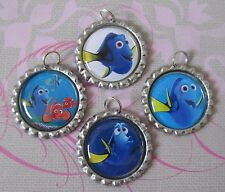 Set of 4 FINDING DORY NEMO Flat Bottle Cap Charms DIY Necklaces Bows Crafts Sea