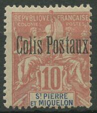 Saint-Pierre et Miquelon 1901 Freimarke 68 mit Aufdruck, Paketmarke 2 mit Falz
