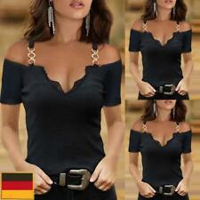 Sexy Damen Kurzarm T-Shirt Slim Bluse Freizeit Sommer Oberteile Schulterfrei Top