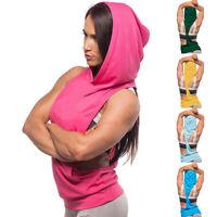 Women Fintess Tops Hoodie Pullover Cotton Sleeveless Vest Tank Sport Camisole