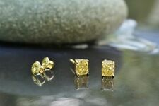 Tiffany & Co. 1.87ctw Fancy Intense Yellow Diamond Stud Earrings, 18k Gold, MINT