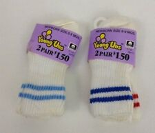 Baby Newborn Tube Socks Lot 4 Pairs Size 0-9 Mos New Old Stock USA Vintage 80s