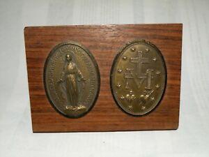 """Plaque médaille miraculeuse """"O Marie Conçué Sanc Péché 1830"""