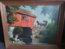 "Paul Detlefsen Vintage covered Bridge Print Litho 16"" X 20"" No.205  Boy Fishing"