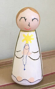 Our Lady of Fatima Wooden Peg Doll 3.5'