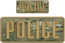 POLICE embroidery patch  4x10 and 2x5 hook MULTICAM Brown
