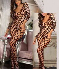 8948 Women Sexy Fishnet Lingerie Open Crotch Underwear Nightwear Babydoll Dress