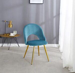 2x Dining Chairs Velvet Gold Leg modern Accent Living Room Chair