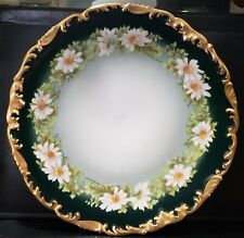 "T&V Antique Limoges Daisies Dark Green Hand Painted 9 1/2"" Plate, Pristine Gold"