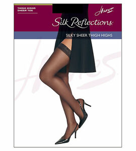 Hanes Silk Reflections Sandalfoot Little Color Thigh-High Stockings Size AB