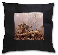 Kitten and Leopard Watch Black Border Satin Feel Cushion Cover With P, AC-77-CSB