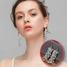 925 Sterling Silver Plated Chained Frosted Grape Ball Beads Drop Dangle Earrings