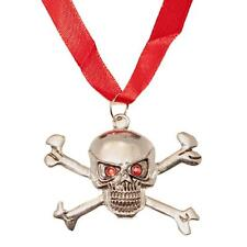 Silver Pirate Skull & Crossbones Pendant Necklace Punk Goth Halloween Voodoo