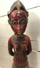 ART AFRICAIN STATUETTE COLON EN BOIS POLYCHROME ETHNIE BAOULE DE COTE D'IVOIRE