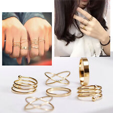 6Pcs/set Fashion Women Ring Gold Plated Finger Tip Knuckle Stacking Rings