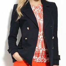 "NWT$348 BCBG MAX AZRIA DARK NAVY ""HUGO"" DOUBLE BREASTED BUTTON PEACOAT JACKET L"