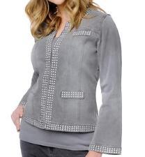 DG2 Stretch Denim Studded Jean Jacket with Metallic Studs $79.90 GRAY XS