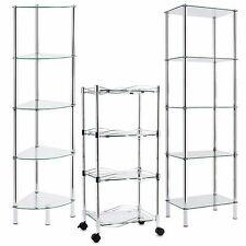 Glasregal Eckregal Regal Glas Badregal Glasablage Standregal Bad Vitrine Rollen