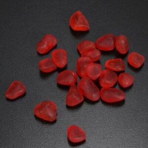 60 Piece Undrilled Sea Beach Glass Beads Red Jewelry Use Pendant Decor 8-12mm L