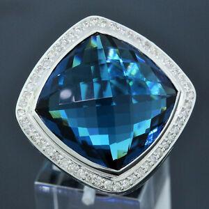 David Yurman 925 Sterling Silver 20mm Blue Topaz Albion Diamond Ring Size 6.25