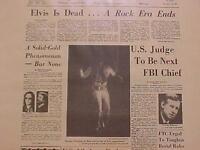 VINTAGE NEWSPAPER HEADLINE ~ROCK POP MUSIC KING DEAD ~ELVIS PRESLEY~ DIES 1977