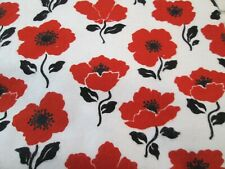 "Flannel Fabric  RED FLOWER FLORAL Red White Black   2 yds x 42""  Cotton"