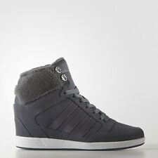 Adidas Super Hi Top Gray Suede Platform Wedge Winter Shoes SneakerBoots AW4854