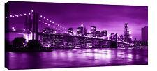 "CANVAS ARTWORK LONG LARGE NEW YORK PURPLE  42""x20"""