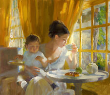Nice Oil painting portrait young mother drinking coffee with her baby canvas