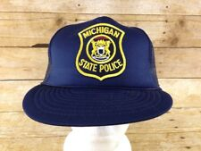 Michigan State Police Snapback Trucker Hat Mesh Embroidered Adjustable