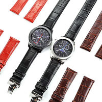 Watch Band Genuine Leather Replace Strap+Butterfly Buckle For Samsung Gear S3