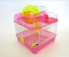 YMLG-H1010PK-YML Clear Plastic Dwarf Hamster Mice Cage with Ball on Top, Pink