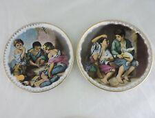 Vintage JWK Decorative Plate Children Kids Playing Fruit West Germany Pair